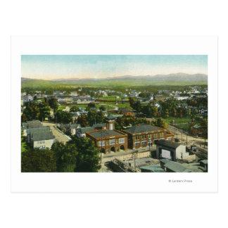 Vue aérienne de ville, de caserne de pompiers et carte postale