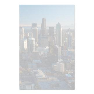 Vue aérienne d'horizon de ville de Seattle Papier À Lettre Personnalisé