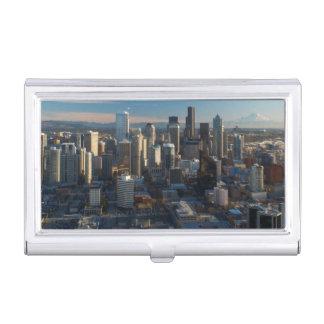Vue aérienne d'horizon de ville de Seattle Porte-cartes De Visite