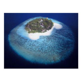 Vue aérienne d'une île tropicale, Maldives Cartes Postales