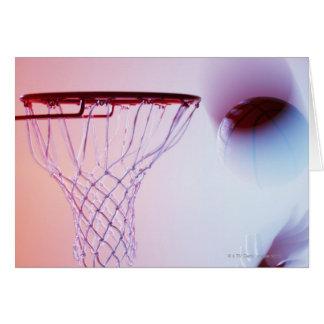 Vue brouillée de basket-ball entrant dans le carte de vœux
