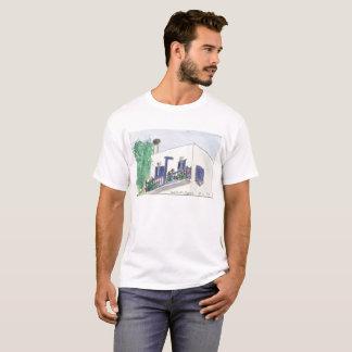 Vue carrée de Mykonos Laki sur un T-shirt