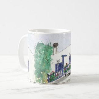 Vue carrée de Mykonos Laki sur une tasse