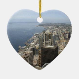 Vue d'Arial de Seattle Ornement Cœur En Céramique