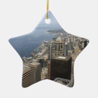 Vue d'Arial de Seattle Ornement Étoile En Céramique