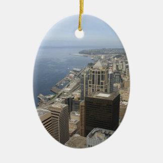 Vue d'Arial de Seattle Ornement Ovale En Céramique