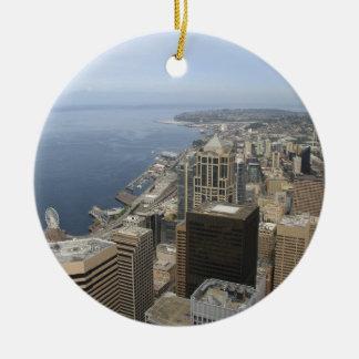 Vue d'Arial de Seattle Ornement Rond En Céramique