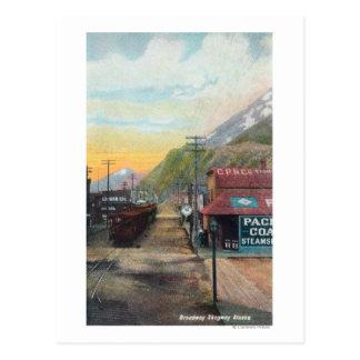 Vue de Broadway et de chemin de fer CarsSkagway, Cartes Postales