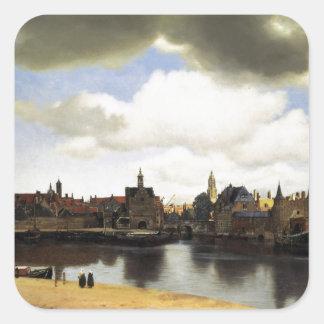 Vue de Delft par Johannes Vermeer Autocollant Carré