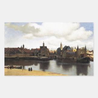 Vue de Delft par Johannes Vermeer Sticker En Rectangle