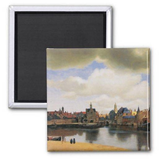 Vue de Delft par Johannes Vermeer Magnets Pour Réfrigérateur