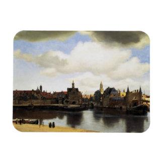 Vue de Delft par Johannes Vermeer Magnets Souples