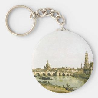 Vue de Dresde de la rive droite de l'Elbe Porte-clé Rond