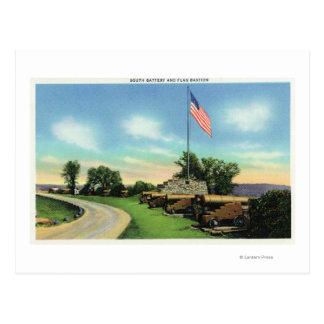Vue de la bastion du sud de batterie et de drapeau carte postale