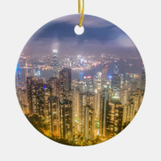 Vue de la crête, Hong Kong Ornement Rond En Céramique