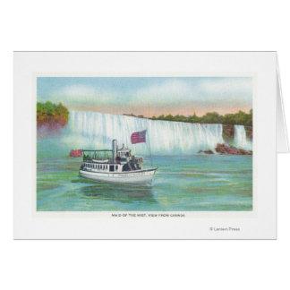 Vue de la domestique du bateau de brume carte de vœux