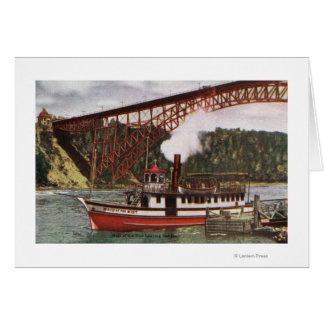 Vue de la domestique du bateau de brume quittant carte de vœux