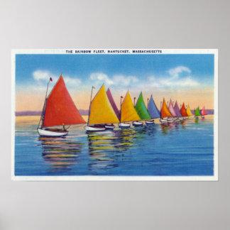 Vue de la flotte de voilier d'arc-en-ciel posters