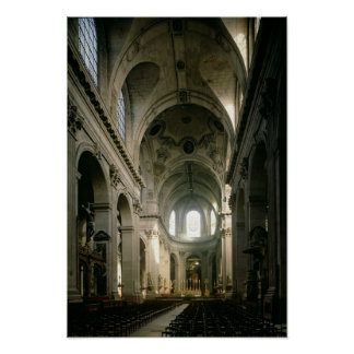 Vue de la nef vers le choeur, établie affiches