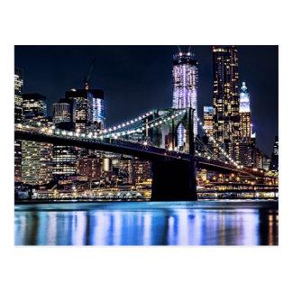 Vue de la réflexion de pont de Brooklyn de New Yor Cartes Postales
