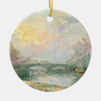 Vue de la Seine, Paris (huile sur la toile) Ornement Rond En Céramique