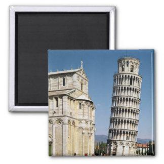 Vue de la tour penchée magnet carré