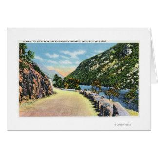 Vue de lac inférieur cascade carte de vœux