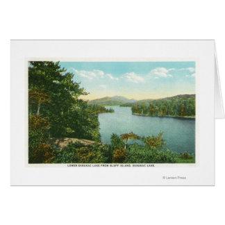 Vue de lac inférieur Saranac d'île de bluff Carte De Vœux