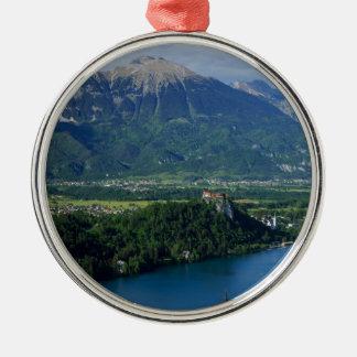 Vue de lac saignée de Mala Osojnica Ornement Rond Argenté