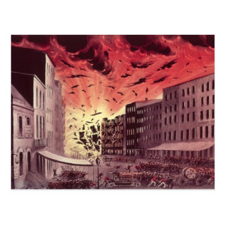 Vue de l'explosion terrible au grand feu carte postale
