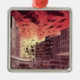 Vue de l'explosion terrible au grand feu ornement carré argenté