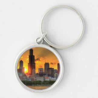 Vue de l'horizon de Chicago d'Adler Porte-clé Rond Argenté