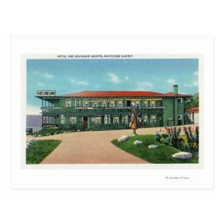 Vue de magasin d'hôtel et de souvenir de sommet de carte postale