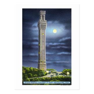 Vue de mémorial de pèlerin la nuit cartes postales