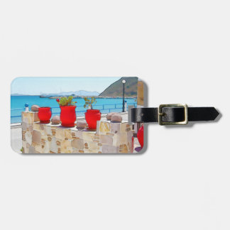 Vue de mer d'aquarelle étiquettes bagages