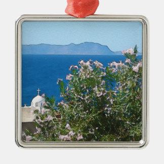 Vue de mer d'aquarelle ornement carré argenté