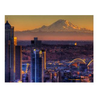 Vue de paysage urbain de Seattle du centre, le foo Cartes Postales