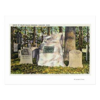 Vue de pierre tombale de Ralph Waldo Emerson Carte Postale