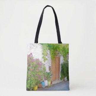 Vue de rue d'aquarelle sac