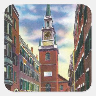 Vue de rue de Salem de vieux bâtiment du nord Sticker Carré