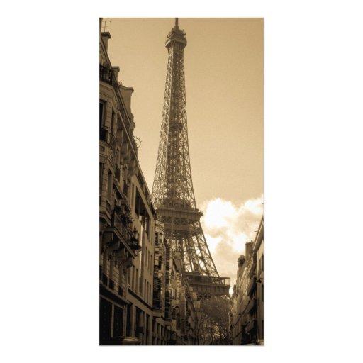 Vue de rue du carte photo de Tour Eiffel Carte Avec Photo