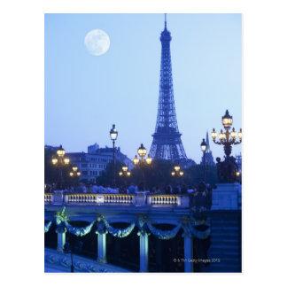 Vue de soirée de Tour Eiffel Carte Postale