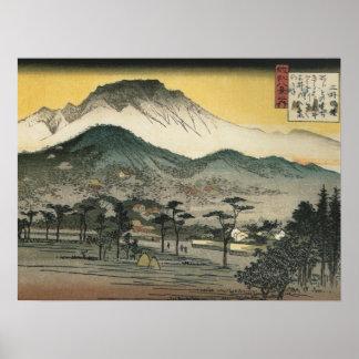 Vue de soirée d'un temple dans les collines par An Affiches