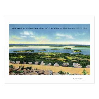 Vue de sommet de Cadillac Mt du port 2 de barre Carte Postale