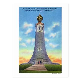 Vue de sommet de mémorial de guerre d'état carte postale