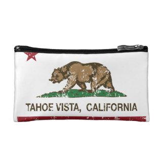 Vue de Tahoe de drapeau de République de la Califo Trousses De Maquillage