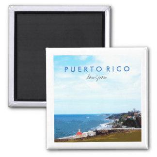 Vue d'EL Morro, San Juan, Porto Rico Magnet Carré