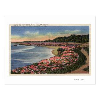 Vue d'entraînement de falaise d'océan, de plage, carte postale