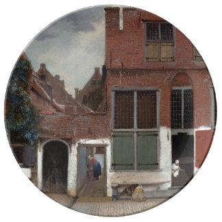Vue des maisons à Delft par Johannes Vermeer Assiette En Porcelaine