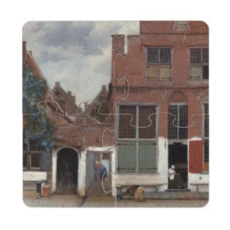 Vue des maisons à Delft par Johannes Vermeer Dessous De Verre Puzzle